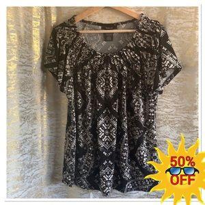 Style&Co short slv patterned blouse